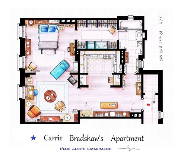 hand-drawn-floor-plans-of-popular-tv-shows-carrie-bradshaw