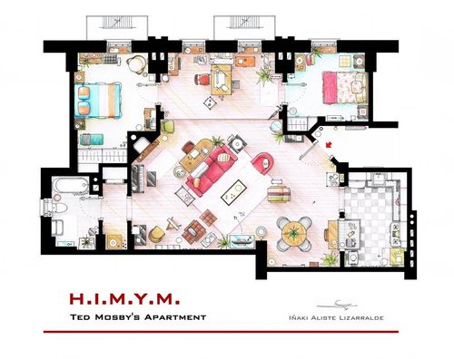hand-drawn-floor-plans-of-popular-tv-shows-ted-mosby
