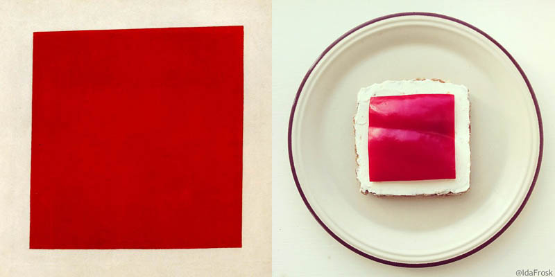10 ida frosk Kazamir Malevich food art carre rouge