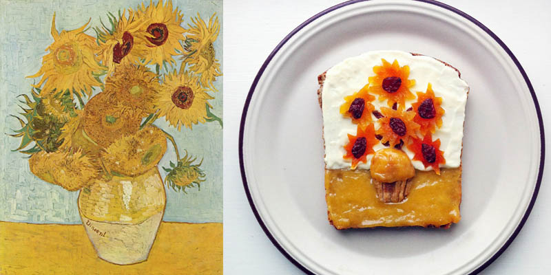 11 food art ida frosk Vincent Van Gogh Les Tournesols