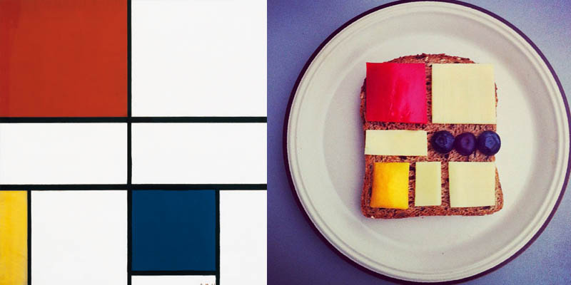 7 food art ida froskInspiration de Piet Mondrian
