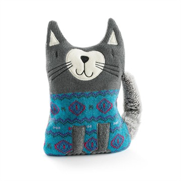 Coussin chauffant chat gris