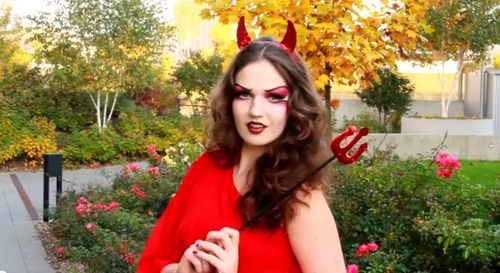 RED HOT DEVIL Makeup \u0026 Costume Halloween Tutorial
