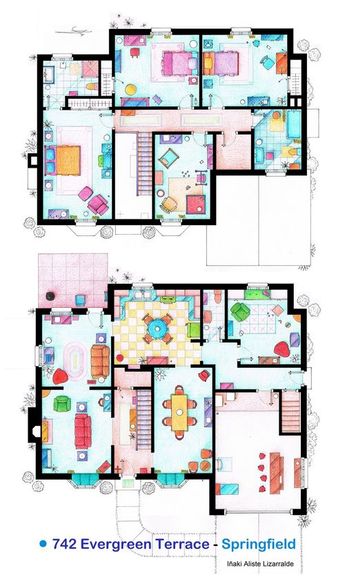 hand-drawn-floor-plans-of-popular-tv-shows-simpsons