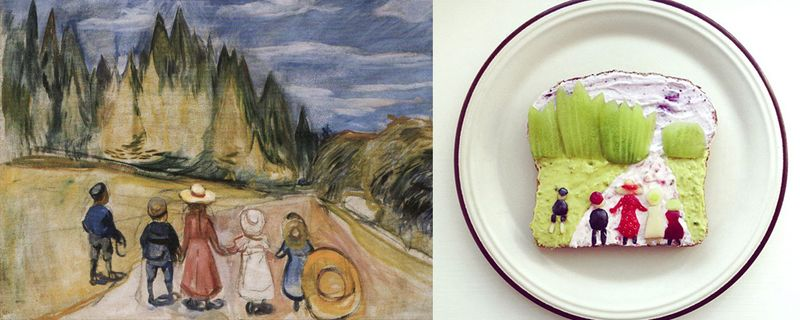 14 food art ida frosk Edvard Munch – La Fôret enchantée food art