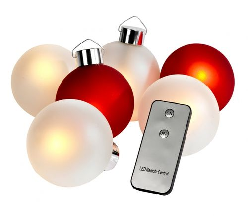 Guirlande lumineuse boules rouges et blanches