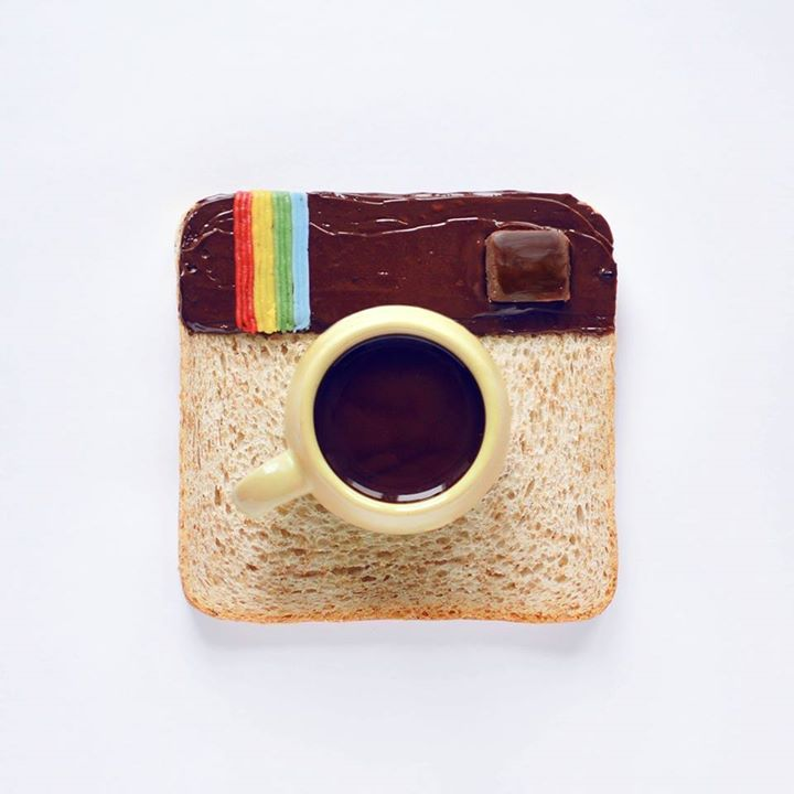 Food Art Logo Instagram en café et tartine